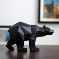 Black/white bear sculpture geometric resin bear statue home office decoration wild life gift art ornament accessories mx5081728