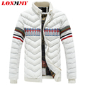 LONMMY 2016 Winter jacket men parka men Thicken Stand collar down coat jacket brand-clothing Fashion print White Navy M-4XL
