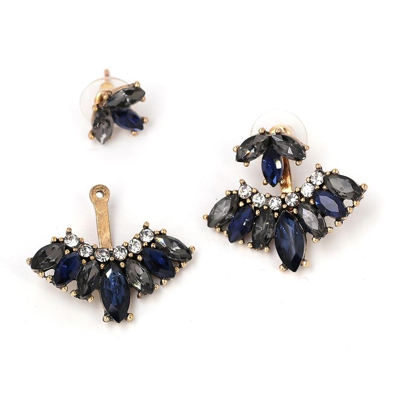 JURAN 2018 New Design White Black Retro Stud Sweet Earrings For Women Detachable Crystal Vintage Charm Earrings Wholesale F3107