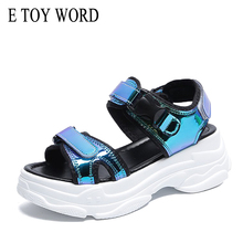 E TOY WORD Sandals women 2019 New Fashion Ladies Casual Shoes Bling Wedges Buckle strap Platform Shoes 5 CM Summer Sandals women sandals platform wedges shoes for women high heeled 11cm camel fashion adjustable buckle strap ladies shoes comfortable