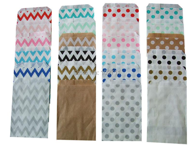 """Aqua blue polka dot 5x7/"""" flat paper bags gift treat favor 6-24 pieces"""