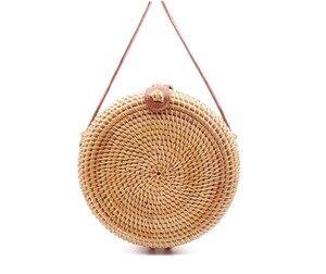 Image 5 - 2020 Round Straw Bags Women Summer Rattan Bag Handmade Woven Beach Cross Body Bag Circle Bohemia Handbag Bali Lowest price L31