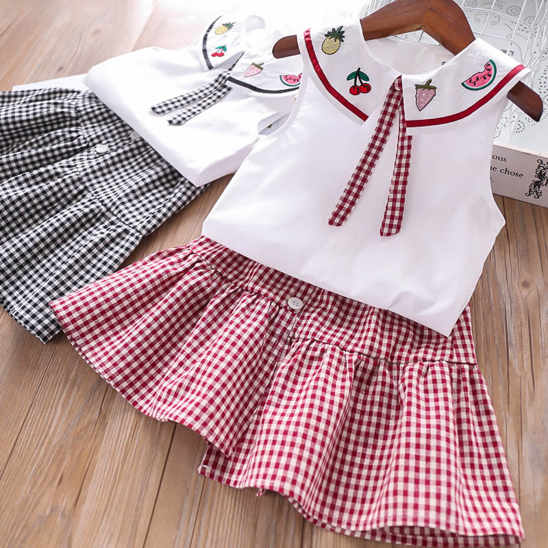 Summer  Girl  Embroidered Fruit Plaid Children Package Wholesale Children  T Shirt and Skirt 2 Pieces Sets