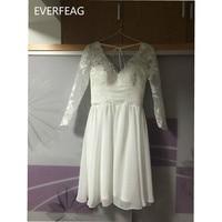 Beach Sexy Vintage Tea Length Wedding Dress 2017 Chiffon Bridal Gown With Half Sleeve