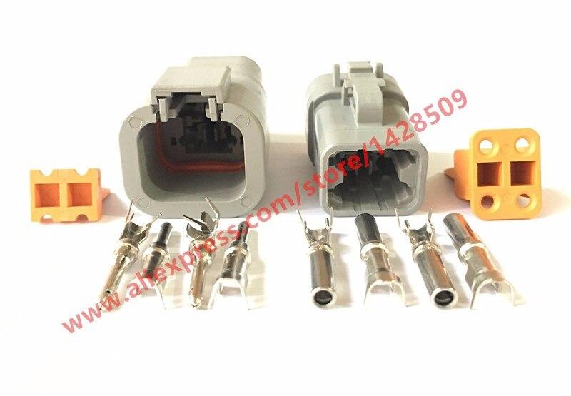 20 Set Deutsch DTP 4 Pin Gray Male Female Waterproof Electrical Auto Connectors Plug DTP06 4S