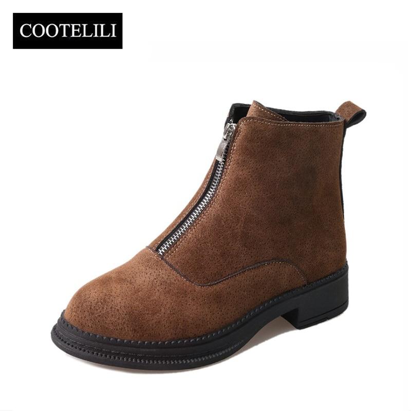 где купить COOTELILI Women Ankle Boots Flat Heels Shoes Woman Faux Suede Leather Botas Slip on Zipper Black Brown 35-39 по лучшей цене