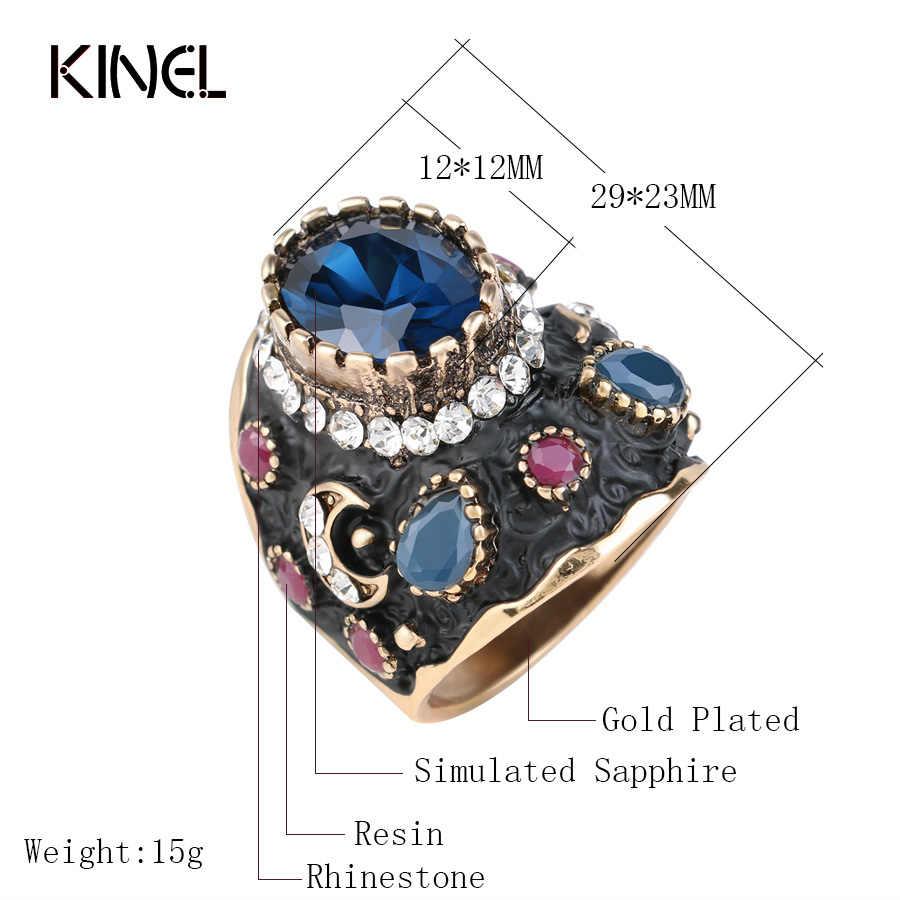 ที่ไม่ซ้ำกันบิ๊กสีดำเคลือบแหวนคริสตัลสีชาติพันธุ์โบราณแหวน Retro เจ้าสาวเครื่องประดับวินเทจ Vintage