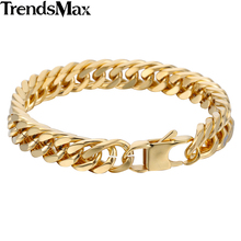 10mm Wide Gold Plated Cut Double Curb Link Chain 316L Stainless Steel Bracelet Mens Boys Jewelry Drop shipping Wholesale HB413 high quality punk harley jewelry boys mens chain skull black silver tone biker motorcycle link 316l stainless steel bracelet