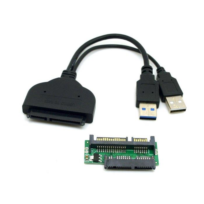 """1 компл. USB 3.0 для SATA 22Pin & sata Микро-sata Адаптер для 1.8 """"2.5"""" жесткий Диск с Драйверами С Extral USB Кабель Питания"""