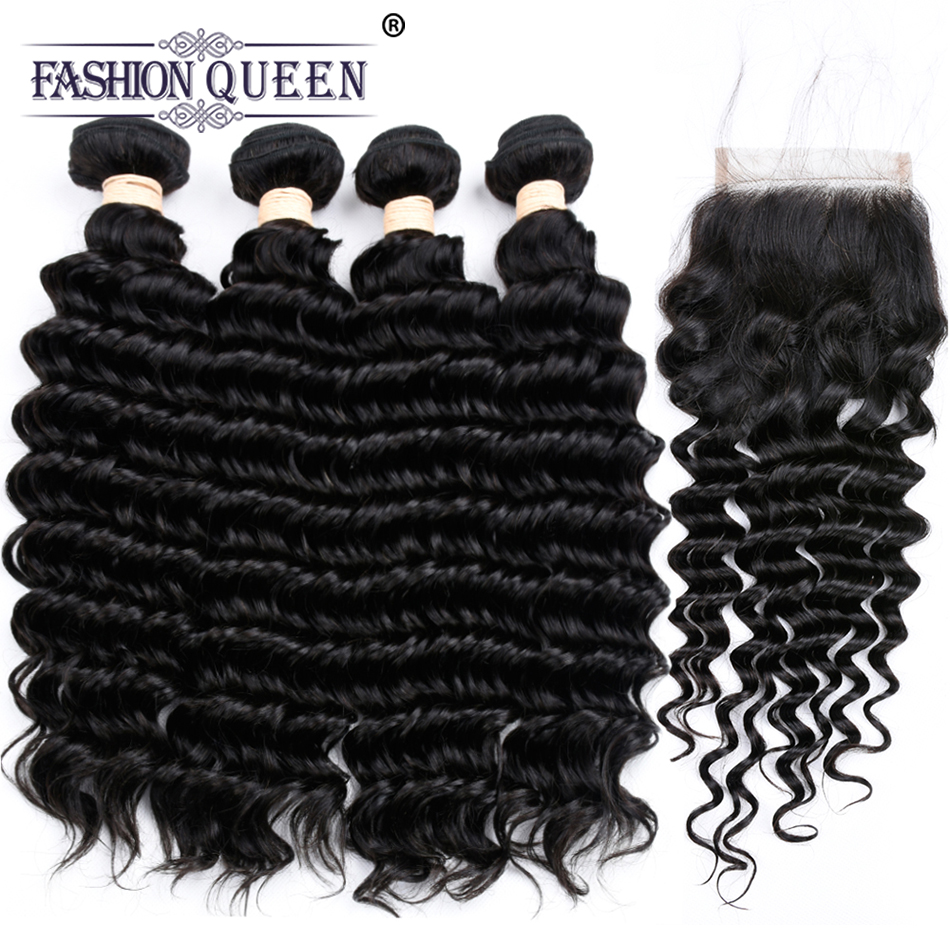 Fashion Queen Malaysian Deep Wave Human Hair Bundles With Closure Deep Curly 4 Bundles With Lace Closure Natural Hair Weave
