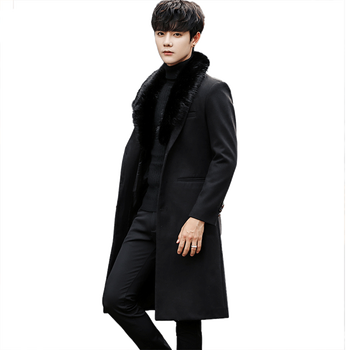 Nice Men New Winter Woolen&Blends Coats Detachable Fur Collar Long Warm Outwear Male Handsome Slim Fit Trench Large Size M-4XL