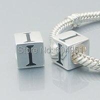 Europeu 100% 925 prata alfabeto I charme compatível com pulseira estilo Chamilia DIY fazer