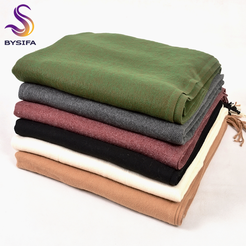 [BYSIFA] Winter Plain Cashmere Scarves Shawls 2018 New Autumn Thicken Warm Tassel Long Scarves Wraps Green Black Camel Grey Red