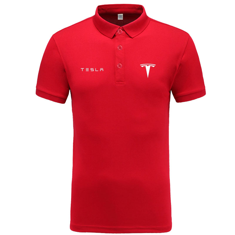Tesla logo   Polo   Shirt Men Brand Clothes Solid Color   Polos   Shirts Casual Cotton Short Sleeve   Polos