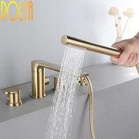 Rolya блеска Золотые римские Ванна отделка ванной кран купальный смеситель для душа наполнитель нажмите твердая латунь новое поступление