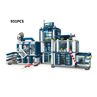 City super police Mobile special police headquarters 951pcs block policeman Prisoner figures helicopter motorcycle bricks toys