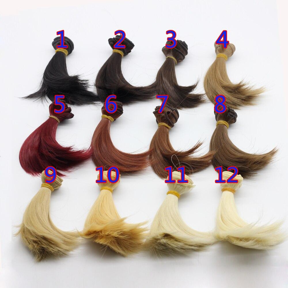Оптовая продажа 10 см * 100 см коричневый льняное кофе черный цвет волос Welf Fringe парик волос для 1/3 1/4 BJD DIY
