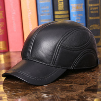 Genuine Leather Baseball Cap Cowhide Leather Hat Mens Fashion Masculino Outdoor Baseball Cap Male Winter Earmuffs Hat B 7259