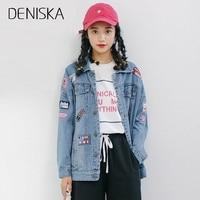 DENISKA Autumn Loose Icons Female Jackets Women Patch Denim Jacket For Girls Female Cardigan Straight Long