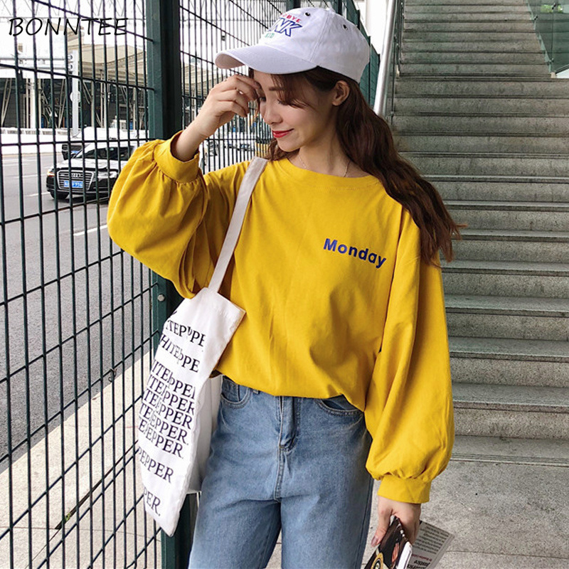 T-shirts Women Autumn Loose Chic Casual Letter Print Long Sleeve Tshirt Female Korean Soft Simple All-match Tees Student Lovely
