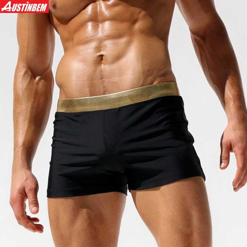 5ec23118cc AUSTINBEM swimwear men sexy solid gold black men swimsuit sunga man swim  trunk boxer shorts beach
