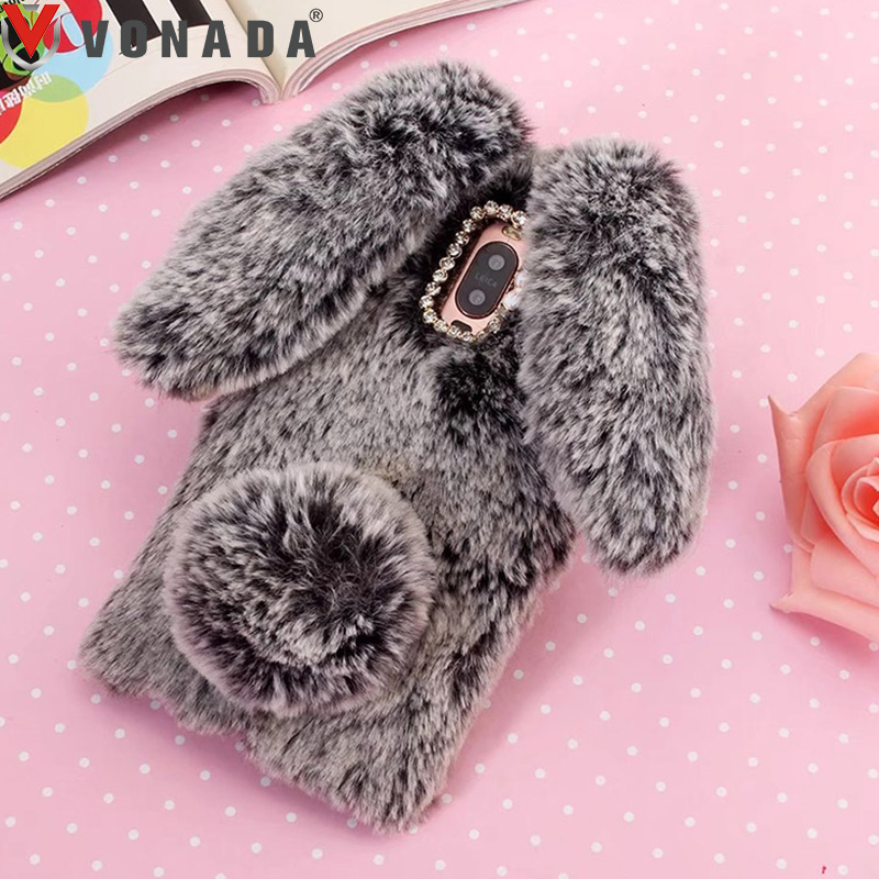Vonada Plush Case for Leagoo S8 Z5 LTE M8 Pro T5 M5 Shark 1 Kiicaa Power M7 Cute 3D Rabbit Ears Fur TPU Diamond Soft Case Cover