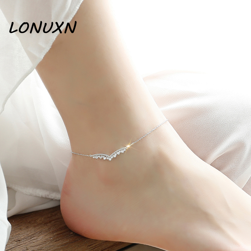 цены 21cm+4.5cm female Korean all-match Anklet 925 silver retro minimalist Japan South Korea female student summer jewelry crown