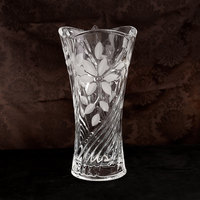 Some special high grade crystal clear glass vase vase table 30cm leaves frosted leaves Fuguizhu Lily