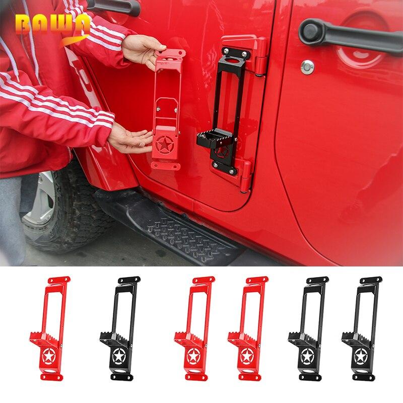 Bawa exterior porta dobradiça painéis pé pegs para jeep wrangler jk jl 2007 + pé resto pedal kit de escalada aço para gladiador jt
