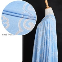 Hollow 100 Light Blue Linen Jacquard Ultra High End Translucent Texture Noble Cloth Fabric Dress Sense