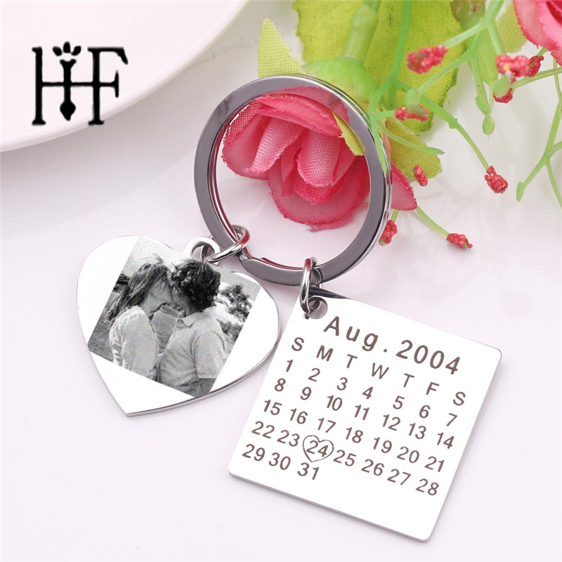 Personalized Calendar Key Chain-save Special Date-heart Keychain Anniversary Gift Custom Photo Keychain Wedding Birthday Gift
