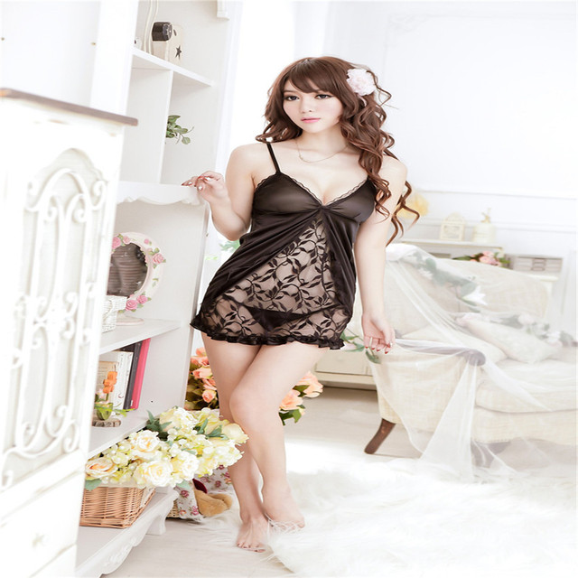 HOT sexy costumes sexy lingerie women Sexy deep V perspective dress sexy babydoll lingerie  Intimate goods sex women's erotic