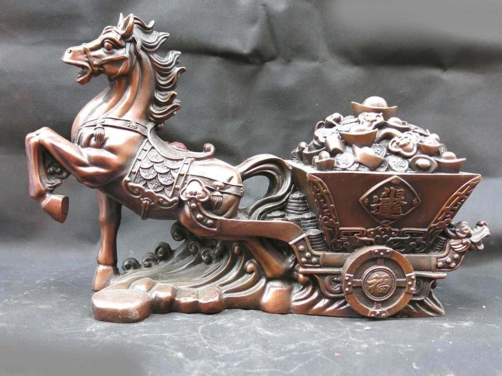 16 Chinese red copper finely carved lucky money gharry horse Sculpture Statue16 Chinese red copper finely carved lucky money gharry horse Sculpture Statue