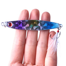 1PC Metal Jig 40g Fishing Lure Spoon Slice Jigbait 3D Eyes Lead Fish Isca Artificial Jigging Lures YUZI High-quality