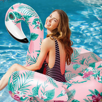 Inflatable Flamingo Swimming Pool Float Summer Island Floral Print Flamingo Ride on Swimming Lifebuoy Lounge Inflatable Pool Toy
