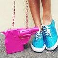 2016 Новая тенденция пластиковый пистолет форма дизайн персонализированные моды случайные сумки на ремне сумки сцепления партия кошелек лоскут 3 цветов