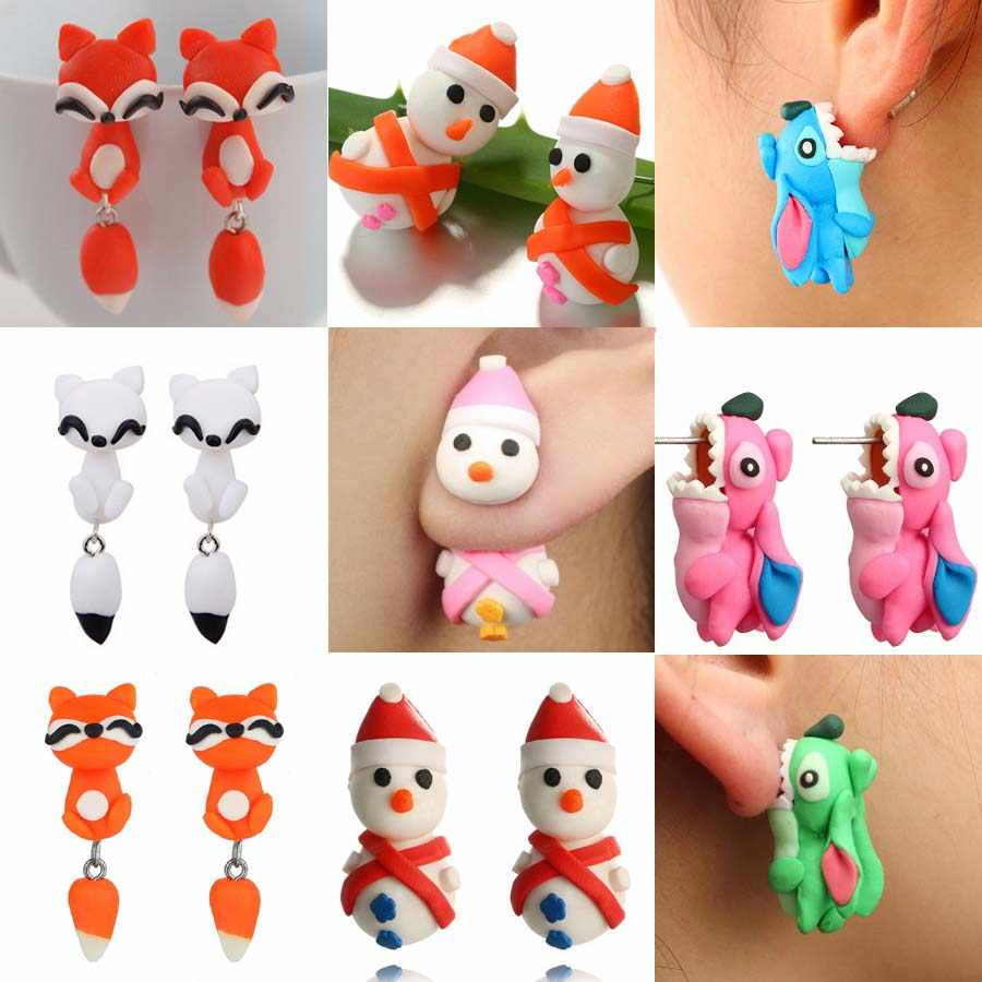 New 100% Handmade Polymer Clay Animal Earrings Cute  Dog Cartoon Red Fox Lovely Snowman Stud Earrings For Women Jewelry