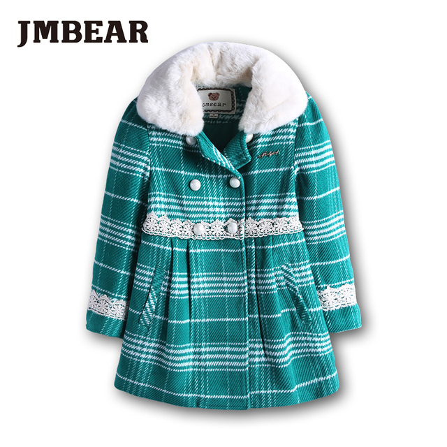 JMBEAR girls winter coat Children's clothing snowsuit child jacket Faux Fur Fleece outerwear thicken parka cotton 6-14 Y