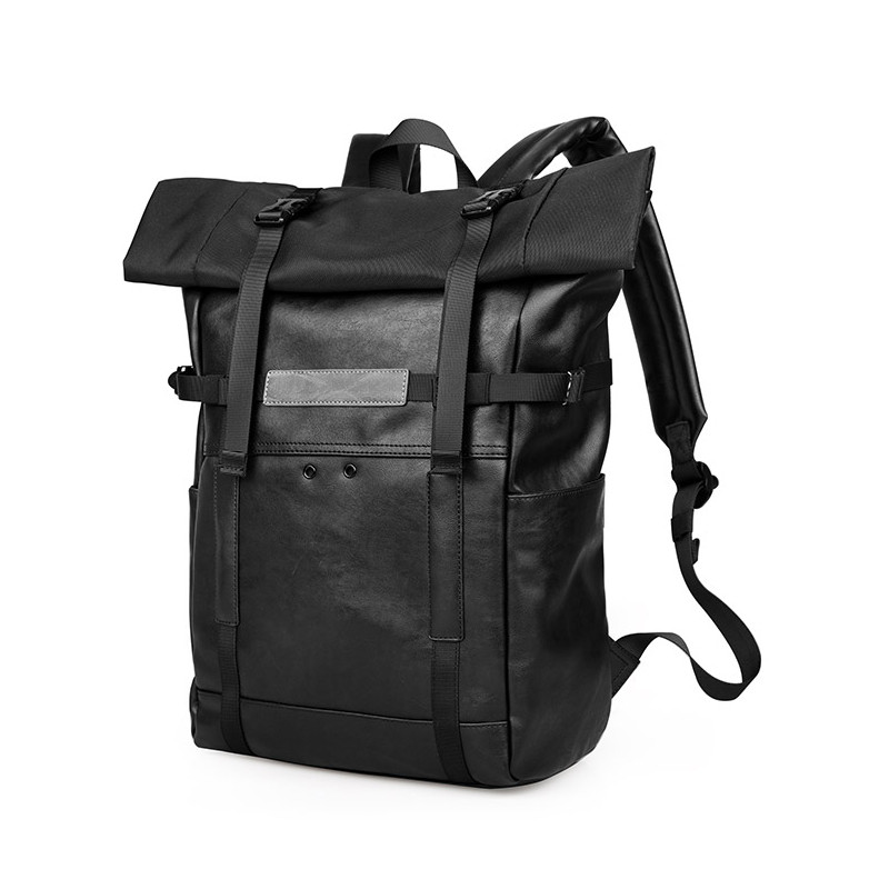UIYI Brand Design Women Men Vintage PU Leather Black Laptop School Male Korea Backpack Military Rucksack