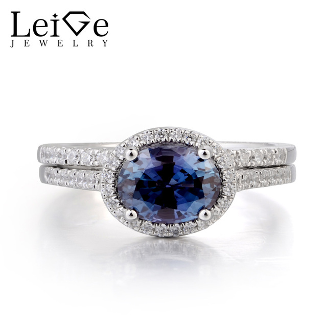 leige jewelry bridal sets alexandrite ring alexandrite wedding ring june birthstone oval cut gemstone solid 925 - Alexandrite Wedding Ring