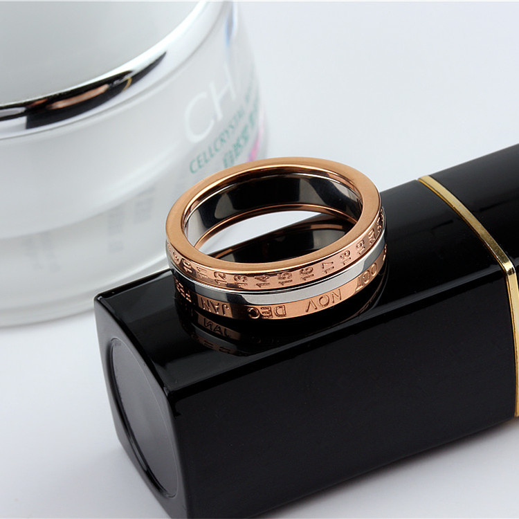 YUN RUO 2020 Rose Gold Personlighet Rotatable Number Ring for Woman - Märkessmycken - Foto 4
