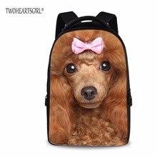 Twoheartsgirl Пудель щенок Собака Печатные Детей Школьный рюкзак для ноутбука карман студент рюкзак толстый полиэстер подросток Mochila