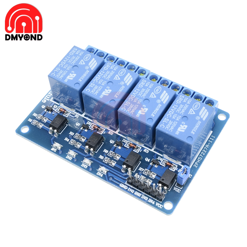 DC <font><b>12V</b></font> <font><b>Relay</b></font> <font><b>Module</b></font> <font><b>4CH</b></font> 4 Channel Optocoupler For Arduino ARM AVR DSP PIC MSP AC 250V 10A DC 30V Low Level Signal MCU PLC image