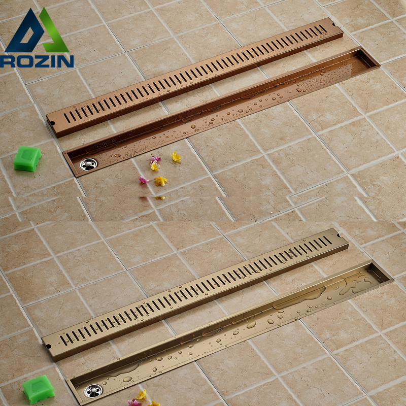 Stainless Steel Bathroom Grid Floor Drain Shower Grate Waste Square Floor Filler Rose golden/TI-PVD Finished euro square antique brass art carved flower bathroom sanitary floor drain waste grate