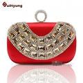 Hot Style Women's Handbag. High-end Silk Luxury Crystal Diamond Ring Wedding Clutch. Shoulder Messenger Chain Evening Bag