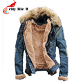Fur Collar Men Denim Jacket Plus Velvet 2015 Autumn/Winter Coat Plus Size Male Jean Jacket Washed Fashion Cowboy
