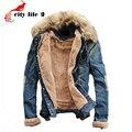 Gola de pele de Homens Jaqueta Jeans Além De Veludo 2015 Outono/Inverno Casaco Plus Size Masculino Jaqueta Jeans Lavado Moda Cowboy