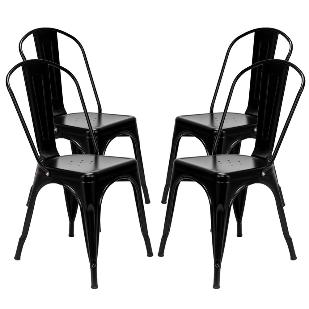 4pcs Dining Chairs Retro Industrial Style Iron Sheet Chair Black Home Restaurant Chair Back Plastic Coffee Chair4pcs Dining Chairs Retro Industrial Style Iron Sheet Chair Black Home Restaurant Chair Back Plastic Coffee Chair