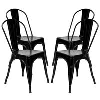 4pcs Dining Chairs Retro Industrial Style Iron Sheet Chair Black Home Restaurant Chair Back Plastic Coffee Chair
