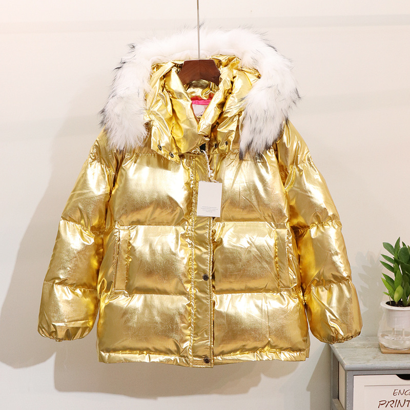 D'hiver Nouvelle Or Automne Femmes Fourrure Espace Argent Femme Mode Pull Col Or Lumineux De rembourré Manteau Coton argent Et Veste Lâche 2018 xIYdwzd